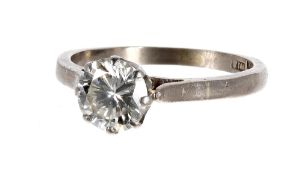 Good platinum solitaire diamond ring, round brilliant-cut, 1.00ct approx, clarity SI, colour I-J,