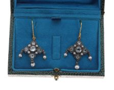 Pair of Victorian style ornate drop earrings, set with blue topaz, seed pearls and pearls, drop