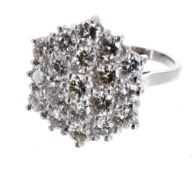 Large fancy 18ct white gold diamond cluster ring, round brilliant-cuts, estimated 3.00ct approx,