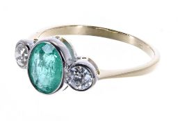 18ct emerald and diamond three stone ring, the emerald 1.20ct, with round brilliant-cut diamonds