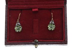 Pair of 19th century style flower design drop earrings, set with peridot petals and diamonds, hook