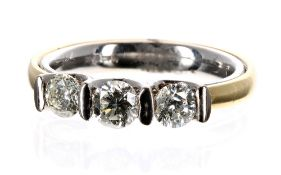 18ct bi-colour three stone diamond ring, 0.84ct approx, clarity I1, colour I-J, band width 4mm, 7.
