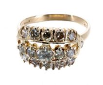 Fancy 18ct yellow gold triple row diamond ring, round brilliant-cuts, 1.73ct approx in total,