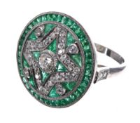Impressive large vintage style emerald and diamond circular cluster cocktail ring, 22mm diameter,