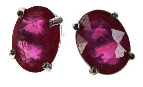 Pair of silver treated ruby ear studs, 8mm x 6mm, 2gm; boxed
