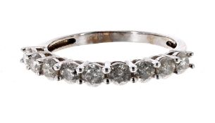 White gold nine stone diamond half eternity ring, 1.00ct approx, clarity I1, colour H-I, band