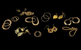 A Collection of 9ct Gold Ladies Earrings - 11 pairs in total. All are hallmarked for 9.