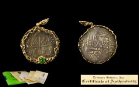 Spanish Galleon Shipwreck 8 Reale Coin Pendant The Coin From The Wreak Of The Nuestra Senora de