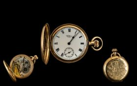 American Watch Co Waltham 10ct Gold Plated Full Hunter Pocket Watch,