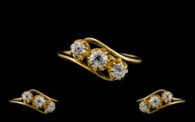 Antique Period - Attractive and Superb Quality 18ct Gold 3 Stone Diamond Ring.