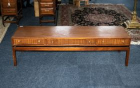 G Plan Style Teak Long John Oblong Coffee Table with three drawers opening at both sides,