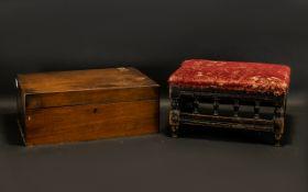 Victorian Mahogany Box & Foot Stool.