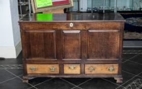 Late 18thC Lancashire Oak Mule Chest Hinged Top With Internal Candle Box, Above A,