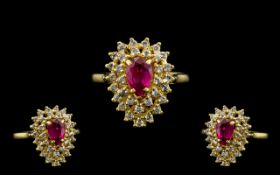 18ct Gold - Nice Quality Ruby and Diamond Set Cluster Ring.