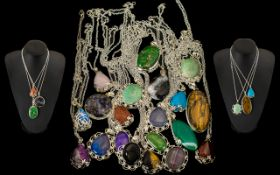 Collection of 20 Stone Set Necklaces all on silver plate chains,
