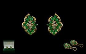 Ladies Pair of 14ct Gold Earrings - Set with Emeralds and Diamonds. Each Earring Marked 14ct.