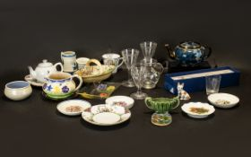 Collection of Assorted Vintage Porcelain & Glass to include decorative blue and gilt patterned Tea