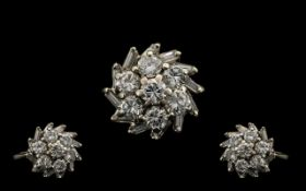 18ct White Gold Diamond Cluster Ring Set With Seven Round Modern brilliant Cut Diamonds With A