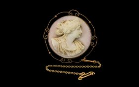 Victorian Period Very Pleasing and Attractive 9ct Gold Circular Mounted Cameo with Safety Chain.