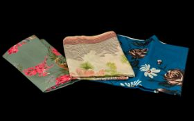 Three Jacqmar Silk Scarves comprising one with a blue grey background decorated with Grecian urns