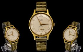 Smiths Delux - Large Gold Plated Mechanical Wind Gents Wrist Watch. Model A325. c.1955-1956.