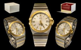 Omega - Constellation Perpetual Calendar - 18ct Gold and Brushed Steel Gents Wrist Watch.