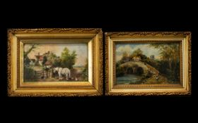 Pair of Small Oil Paintings on board, in gilt frames,