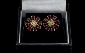 Ladies Attractive Pair of 9ct Gold Amethyst and Diamond Set Earrings in a circular flower head