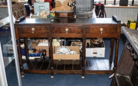 18thC North Wales Dresser And Rack Open Pot Board Base, Three Drawers, Turned Supports,