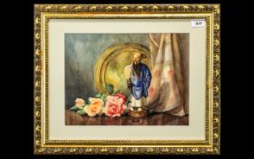 Still Life Watercolour, Initials PBR, depicting a Chinese statue, flowers and a metal platter,