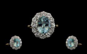 18ct Gold and Platinum Stunning Aquamarine and Diamond Set Cluster Ring of Wonderful Quality.