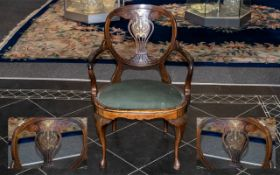 Edwardian Rosewood Ladies Desk Chair on Cabriole Queen Anne Legs the oval back decorated with brass