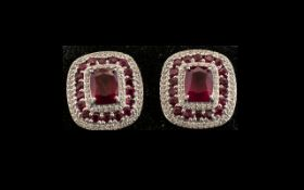 Ruby and Zircon Pair of Large Stud Earrings,