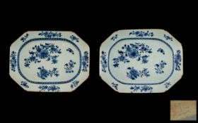 Chinese Pair of Nankin 18th Century Porcelain Dishes of rectangular form with canted corners,