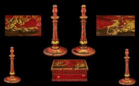 Red Lacquered Gilt Decorated Cigarette Box, depicting tigers to the lid,