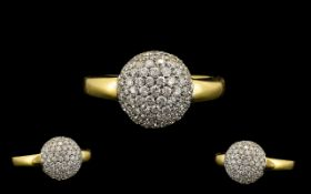 18ct Gold - Contemporary Designed Dome Shaped Diamond Set - Glitz Dress Ring. Marked 18ct - 750.