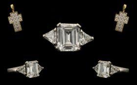 Ladies 9ct White Gold Large CZ Set Dress Ring - Looks Impressive, CZ Central Stone 6.00 cts.