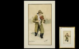 Tom Dodson 1910 - 1991 Artist Drawn and Signed Watercolour / Chalk Highlights - Titled ' The Old