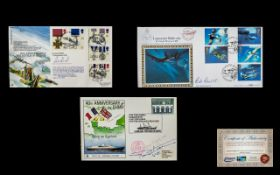 A Trio of First Day Covers hand signed by Victoria Cross Medal Recipients with certificates of