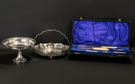 Collection of Silver Plated Ware to include a decorative table centre piece of three silver vases