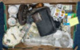 A Box of Mixed China, Glass & Collectibles to include a figure of an otter on a wooden base; a small