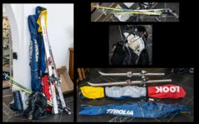 Collection of Skiing Equipment to include four pairs of skis in sizes 160/170/185/170 including