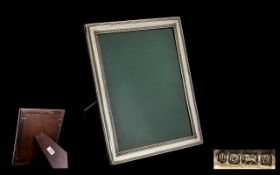 Harrods of London Contemporary Design Sterling Silver - Delux Photo Frame with Polished Mahogany