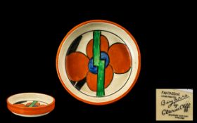 Clarice Cliff Picasso Flower 1930's Hand Painted Small Round Dish abstract design 'Fantasque' Range