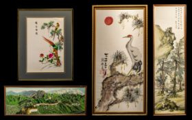 Chinese Embroideries (4) Large Pictorial works by various artists, all fully signed.