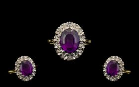 18ct Gold Attractive Amethysts and Diamond Set Cluster Ring - In a Contemporary Art Work Setting.