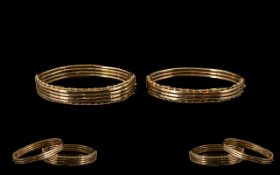 Victorian Period Pair of Attractive 9ct Gold Hinged Bangles (2). Wonderful patina. Each marked 9ct.