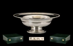 Elizabeth II - Good Quality Contemporary Design Solid Silver Pedestal / Comport Fruit Bowl of