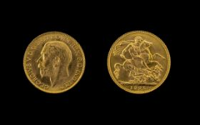 George V 22ct Gold Full Sovereign - Date 1925. London Mint. Uncirculated Coin - Please See Photo.