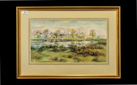 Framed Watercolour by J K Bishop of Khuzden Hall. Large watercolour, framed and mounted behind